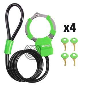 cadenas menottes masterlock vert trottinette electrique